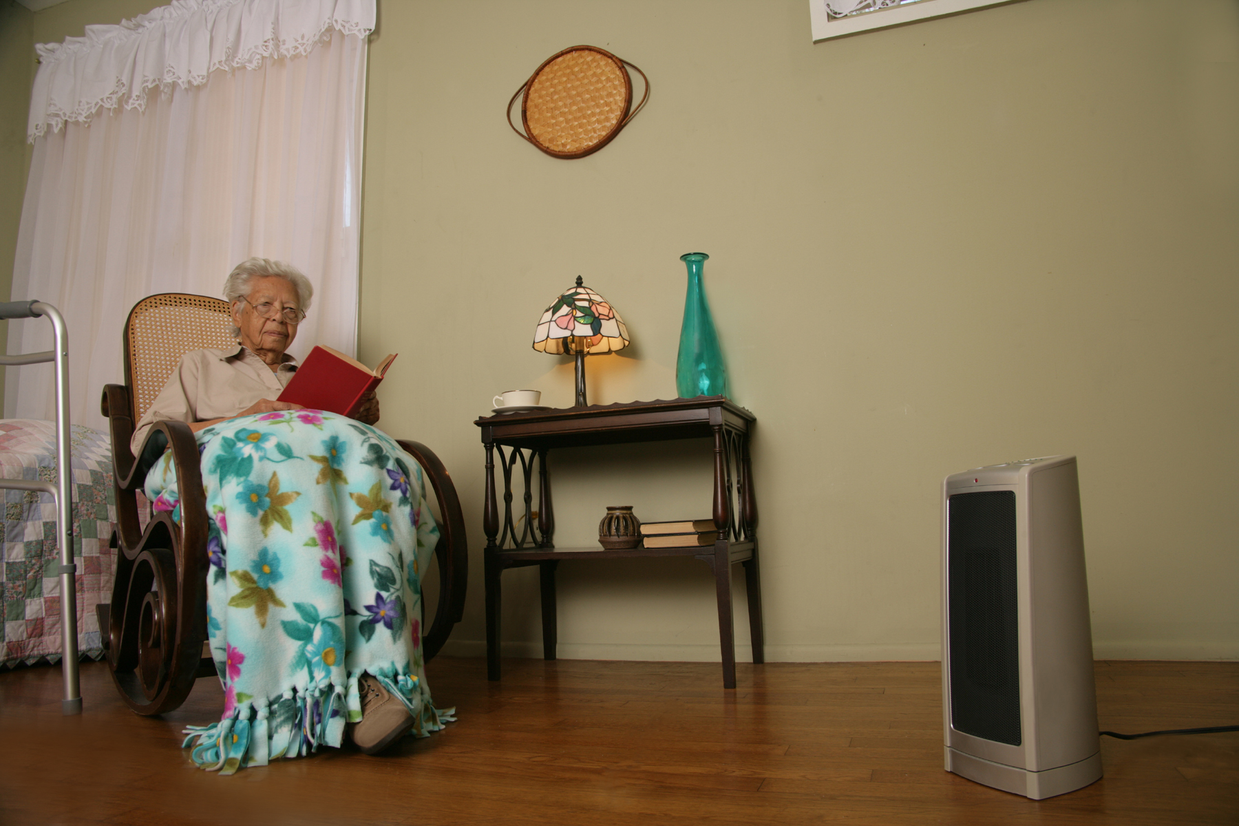 woman with space heater